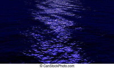 Seamless loop of Waves reflecting in moonlight on ocean