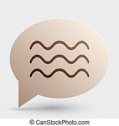 Waves sign illustration. Brown gradient icon on bubble with shadow.