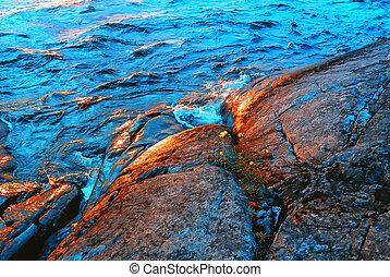 Waves Splashing About Granite Coast