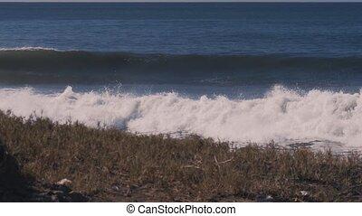 Waves Splashing Against Cliffs And Rocks, Graded Version,...