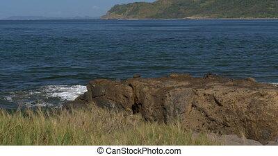 Waves Splashing Against Cliffs And Rocks, Native Version -...