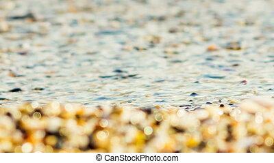 Waves Splashing On The Beach. Close-up