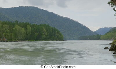 Waves, spray and foam, river Katun in Altai mountains....