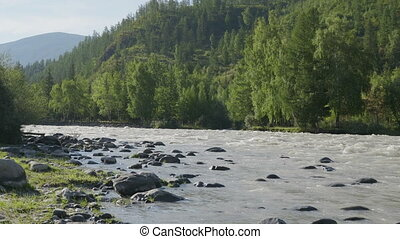 Waves, spray and foam, river Katun in Altai mountains. Siberia, Russia