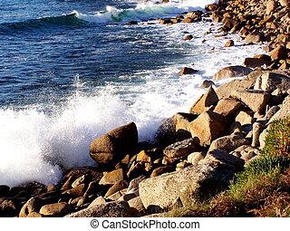 Waves on rocks, Cornwall, England
