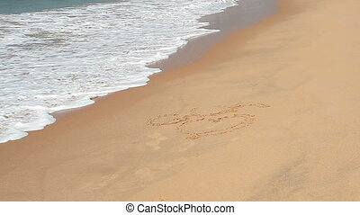 Waves touch sand with the inscription I love Goa