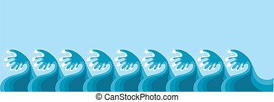 Waves. Vector sea decoration on blue for design