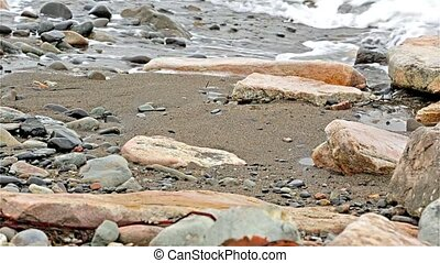 Waves washing ashore in Maine