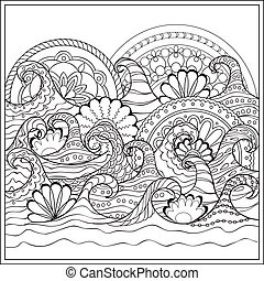 waves with mandalas - Hand drawn mandalas in the ocean with...