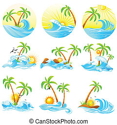 Waves with Palm Tree