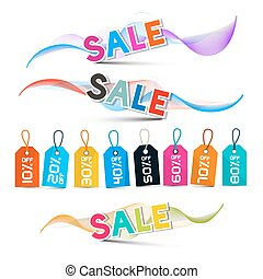 Waves with Sale Title in Shiny Colors with Discount Labels with Strings Isolated on White Background