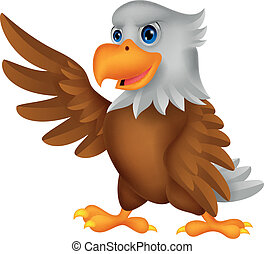 waving, águia, caricatura