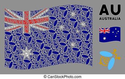 waving, ícones, austrália, mosaico, bandeira, abelha