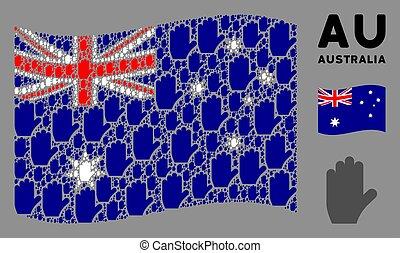 waving, ícones, padrão, austrália, votando, mão, bandeira