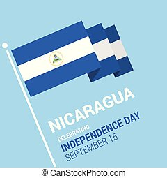 Waving 3d Nicaragua Flag Happy Independence Day