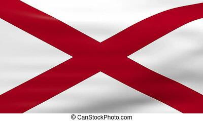 Waving Alabama State Flag