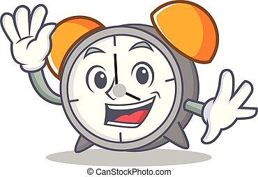 Waving alarm clock character cartoon