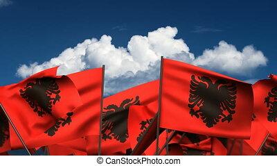 Waving Albanian Flags (seamless & alpha channel)