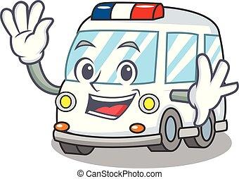 Waving ambulance character cartoon style