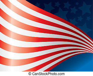 Waving American Flag Back - An illustrated American flag...