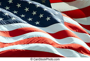 Waving American Flag - Close up view of American Flag waving...