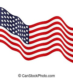 Waving American flag. Vector illustration for your design.