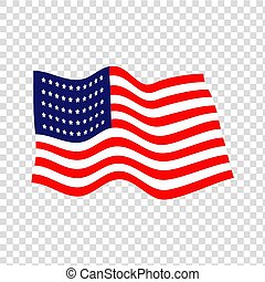 waving American flag. Vector.