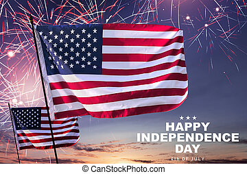 Happy Independence day - Waving american flag with fireworks...