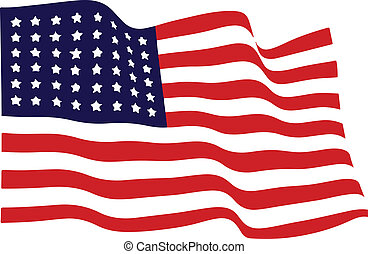 waving, americano, vetorial, bandeira