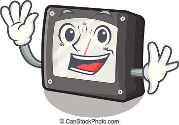 Waving ampere meter in the cartoon shape vector illustration