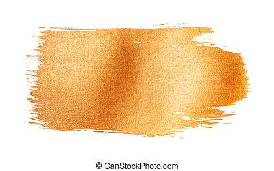 Waving and glittering golden brush stroke isolated on white background