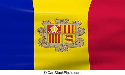 Waving Andorra Flag, ready for seamless loop.