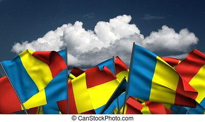 Waving Andorra Flags (seamless & alpha channel)