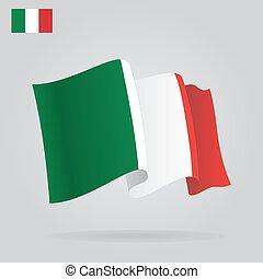 waving, apartamento, italiano, vetorial, flag.
