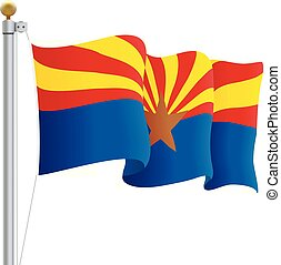 Waving Arizona Flag Isolated On A White Background. Vector Illustration. Official Colors And Proportion. Independence Day