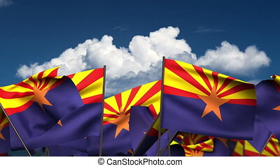 Waving Arizona State Flags (seamless & alpha channel)