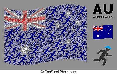 Waving Australia Flag Collage of Running Gentleman Items