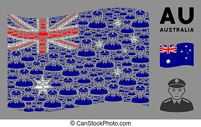 Waving Australia Flag Collage of Soldier Icons - Waving ...
