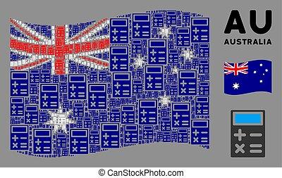 Waving Australia Flag Composition of Calculator Icons - ...