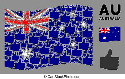 Waving Australia Flag Composition of Thumb Up Icons
