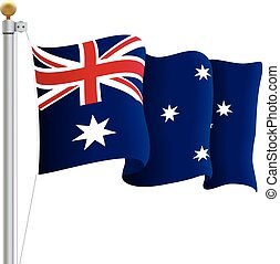 Waving Australia Flag Isolated On A White Background. Vector Illustration.