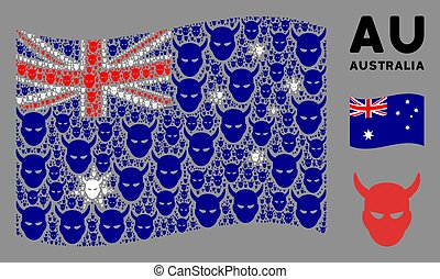 Waving Australia flag. Vector daemon head icons are scattered into mosaic Australia flag composition. Patriotic composition done of flat daemon head pictograms.