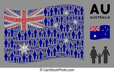 Waving Australia Flag Mosaic of Family Child Items