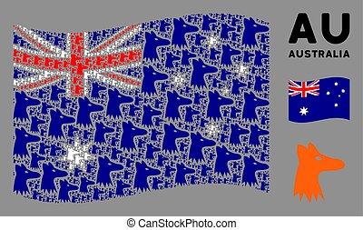 Waving Australia Flag Mosaic of Fox Head Icons