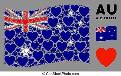 Waving Australia Flag Mosaic of Love Heart Items