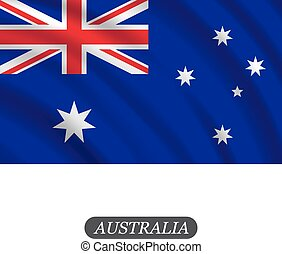 Waving Australia flag on a white background. Vector illustration
