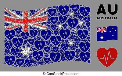 Waving Australia Flag Pattern of Cardiology Icons
