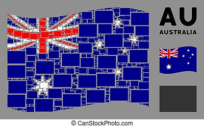 Waving Australia official flag. Vector filled rectange icons are combined into mosaic Australia flag abstraction. Patriotic concept combined of flat filled rectange icons.
