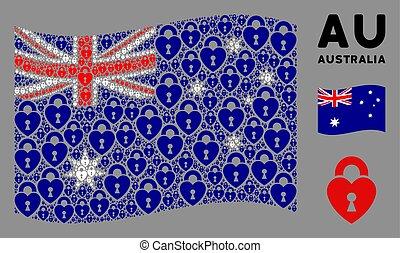 Waving Australia Flag Pattern of Heart Lock Icons