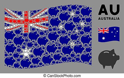Waving Australia Flag Pattern of Piggy Bank Icons